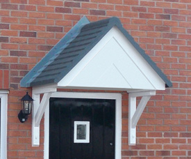 Wentworth Plastics Windsor GRP Door canopy with closed soffit.