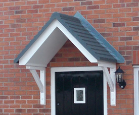 Wentworth Plastics Windsor GRP Door canopy with open soffit.
