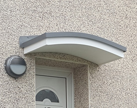 Wentworth Plastics Small Shallow Arched GRP Door Canopy.